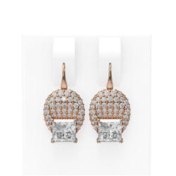 2.78 ctw Princess Diamond Earrings 18K Rose Gold