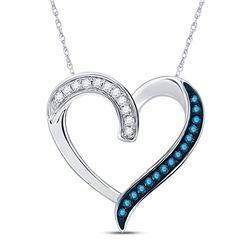 10kt White Gold Round Blue Color Enhanced Diamond Heart Outline Pendant 1/5 Cttw