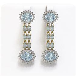 12.82 ctw Sky Topaz & Diamond Earrings 14K Yellow Gold