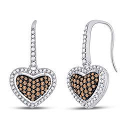 10kt White Gold Brown Diamond Heart Dangle Earrings 5/8 Cttw