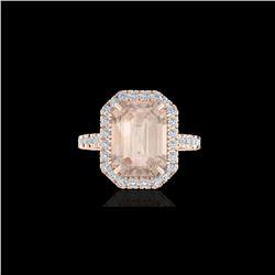 4.50 ctw Morganite & Micro Pave VS/SI Diamond Ring 14K Rose Gold