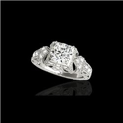 1.25 ctw Certified Diamond Solitaire Antique Ring 10K White Gold