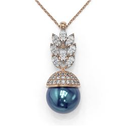 3.69 ctw Marquise Diamond and Pearl Necklace 18K Rose Gold