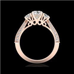 1.81 ctw VS/SI Diamond Art Deco 3 Stone Ring 18K Rose Gold