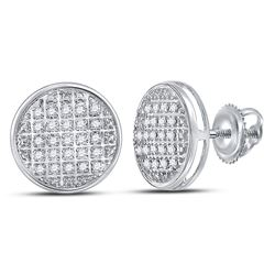 10kt White Gold Mens Round Diamond Circle Cluster Stud Earrings 1/8 Cttw