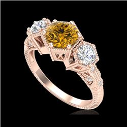 1.66 ctw Intense Fancy Yellow Diamond Art Deco Ring 18K Rose Gold