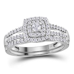 10kt White Gold Round Diamond Split-shank Bridal Wedding Engagement Ring Band Set 1/2 Cttw