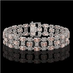 11.02 ctw Morganite & Diamond Row Bracelet 10K White Gold