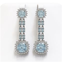 16.22 ctw Aquamarine & Diamond Earrings 14K White Gold