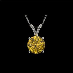 1.21 ctw Certified Intense Yellow Diamond Necklace 10K White Gold