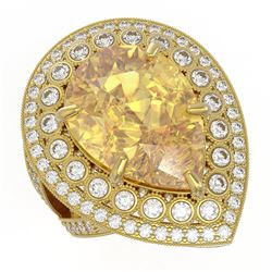 17.38 ctw Canary Citrine & Diamond Victorian Ring 14K Yellow Gold