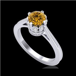 1.14 ctw Intense Fancy Yellow Diamond Art Deco Ring 18K White Gold