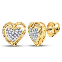 10kt Yellow Gold Round Diamond Milgrain Heart Cluster Earrings 1/10 Cttw