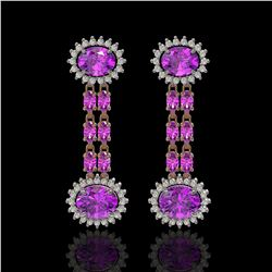 8.19 ctw Amethyst & Diamond Earrings 14K Rose Gold