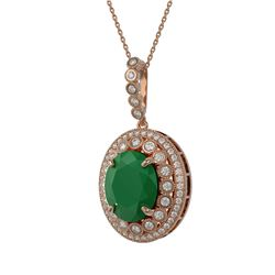 13.75 ctw Emerald & Diamond Victorian Necklace 14K Rose Gold