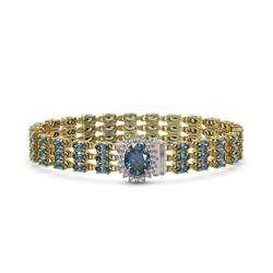 27.33 ctw London Topaz & Diamond Bracelet 14K Yellow Gold