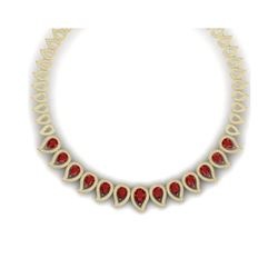 33.4 ctw Designer Ruby & VS Diamond Necklace 18K Yellow Gold