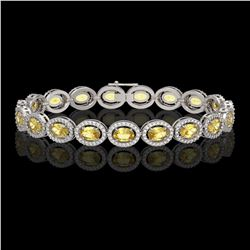 12.73 ctw Fancy Citrine & Diamond Micro Pave Halo Bracelet 10K White Gold
