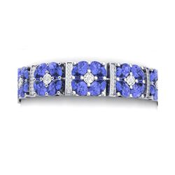 30.98 ctw Tanzanite & VS Diamond Bracelet 18K White Gold