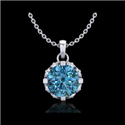 1.14 ctw Fancy Intense Blue Diamond Art Deco Necklace 18K White Gold