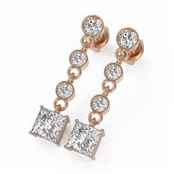 3 ctw Princess Cut Diamond Earrings 18K Rose Gold