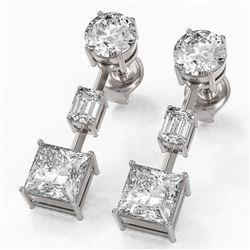 3.5 ctw Princess Cut Diamond Designer Earrings 18K White Gold