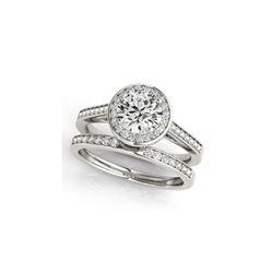 1.45 ctw Certified VS/SI Diamond 2pc Wedding Set Halo 14K White Gold