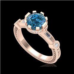 1.71 ctw Fancy Intense Blue Diamond Art Deco Ring 18K Rose Gold