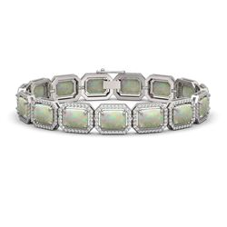 24.37 ctw Opal & Diamond Micro Pave Halo Bracelet 10K White Gold