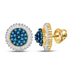 10kt Yellow Gold Round Blue Color Enhanced Diamond Cluster Earrings 1.00 Cttw