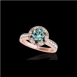 1.5 ctw SI Certified Fancy Blue Diamond Solitaire Halo Ring 10K Rose Gold