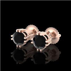 1.07 ctw Fancy Black Diamond Art Deco Stud Earrings 18K Rose Gold