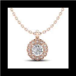 1.15 ctw VS/SI Diamond Solitaire Art Deco Stud Necklace 18K Rose Gold