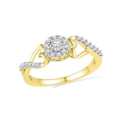 10kt Yellow Gold Round Diamond Cluster Heart Promise Bridal Ring 1/6 Cttw