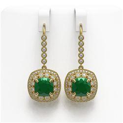 12.9 ctw Certified Emerald & Diamond Victorian Earrings 14K Yellow Gold