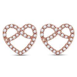 10kt Rose Gold Round Diamond Pretzel Heart Stud Earrings 1/6 Cttw