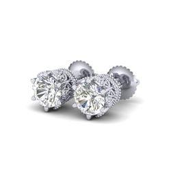 2.04 ctw VS/SI Diamond Solitaire Art Deco Stud Earrings 18K White Gold
