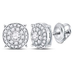 14kt White Gold Round Diamond Concentric Circle Cluster Earrings 1/2 Cttw
