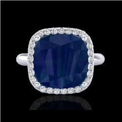 6 ctw Sapphire And Micro Pave Halo VS/SI Diamond Ring 18K White Gold