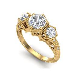 1.66 ctw VS/SI Diamond Solitaire Art Deco 3 Stone Ring 18K Yellow Gold