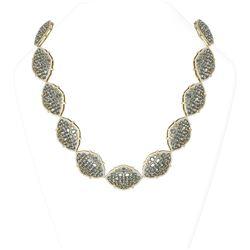 83.25 ctw Aquamarine & Diamond Necklace 18K Yellow Gold