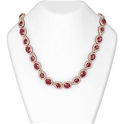 92.52 ctw Ruby & Diamond Necklace 18K Rose Gold