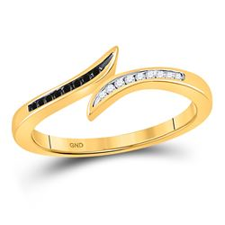 10k Yellow Gold Black Color Enhanced Diamond Slender Bypass Band Ring Unique 1/10 Cttw