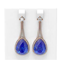 24.5 ctw Tanzanite & Diamond Earrings 18K Rose Gold