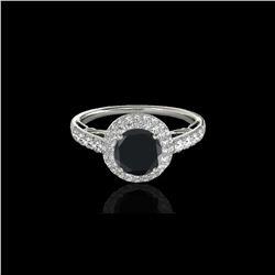 1.65 ctw Certified VS Black Diamond Solitaire Halo Ring 10K White Gold