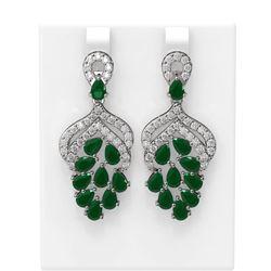 13.02 ctw Emerald & Diamond Earrings 18K White Gold