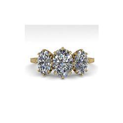 2 ctw Past Present Future VS/SI Oval Cut Diamond Ring 18K Yellow Gold