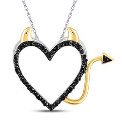 10kt White Gold Round Black Color Enhanced Diamond Devil Naughty Heart Pendant 1/20 Cttw