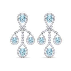 25.94 ctw Sky Topaz & VS Diamond Earrings 18K White Gold