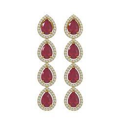 10.2 ctw Ruby & Diamond Micro Pave Halo Earrings 10K Yellow Gold